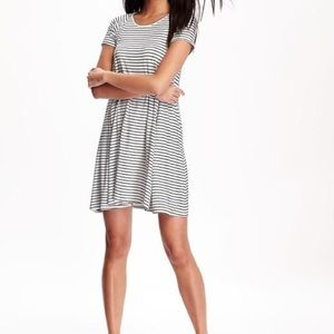 Old Navy White and Black Striped Swing dress